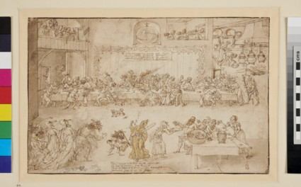 Recto: A Feast with Mummers<br />Verso: Inscriptions
