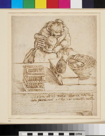 A Woman teaching a Boy to read