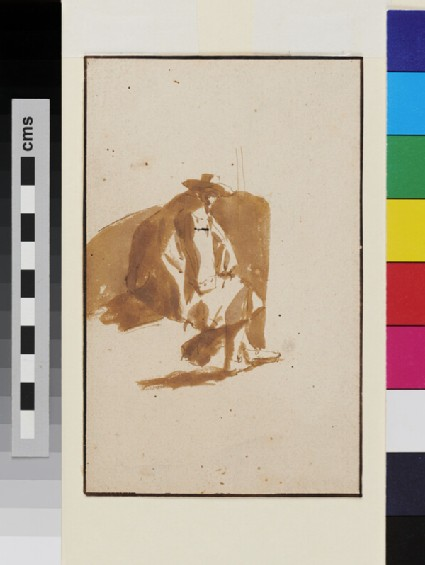 Recto: Study of a seated Man<br />Verso: Reclining Man