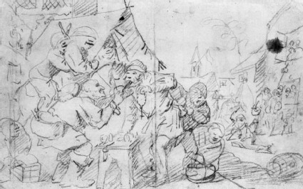 Recto: The quack Dentist <br />Verso: Figure Sketches