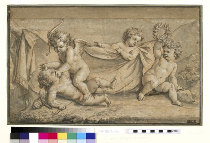 Two cupids fighting, watched by two putti, one holding a wreath