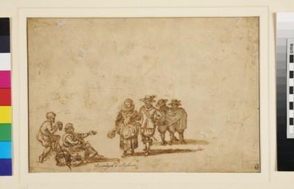 Recto: Beggars appealing to Passengers<br />Verso: Figure Studies