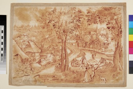 Recto: Landscape with Figures picnicking 