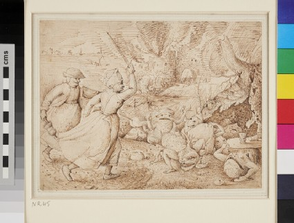 Two peasant Women attacking Monsters