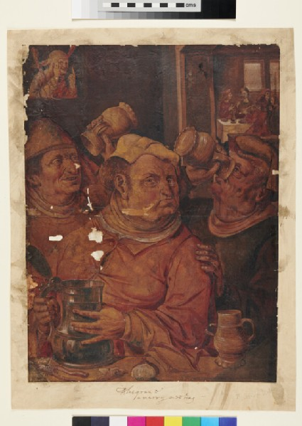 Three Men drinking in a Tavern with Musicians behind