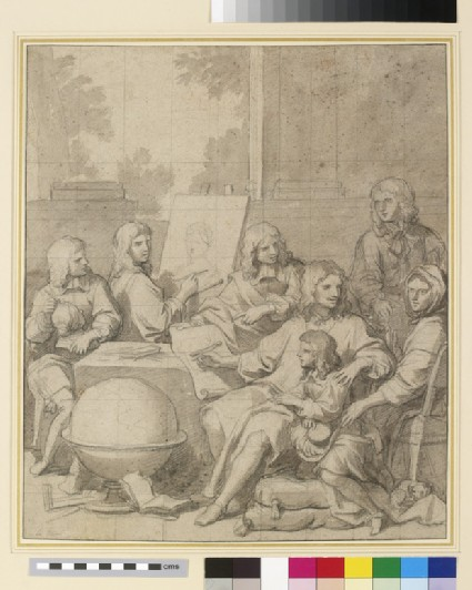 A man and woman seated in an interior with five youths studying different branches of the visual arts