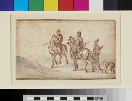 A Group of Figures on horseback and on foot