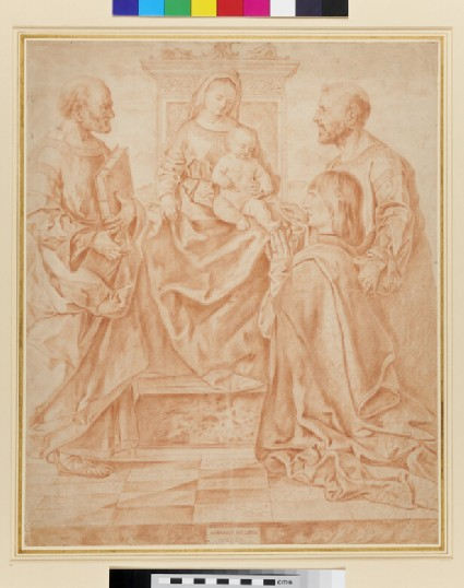 The Virgin and Child enthroned with St Peter, St Mark and a Donor