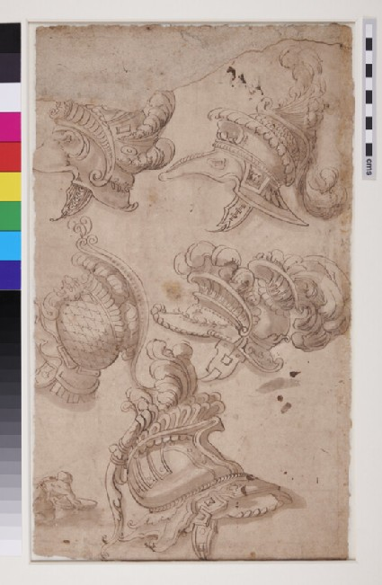 Recto: The Drunkenness of Silenus<br />Verso: Studies of five ornate plumed helmets and of a crouching figure