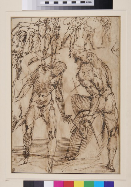Recto: Studies of nude male Figures and of a Baptism of Christ