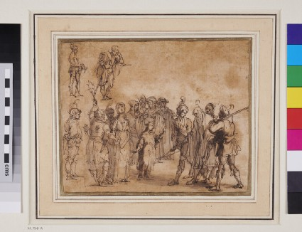 Soldiers taking Prisoner a young Woman and Girl, and an old Man