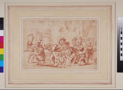 Recto: Composition of grotesque figures<br />Verso: Various sketches of grotesque heads