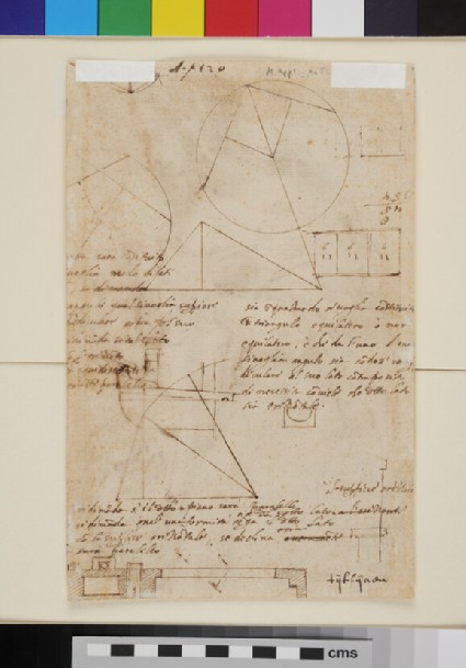 Recto: The Virgin of the Annunciation<br />Verso: Various geometrical figures with inscriptions