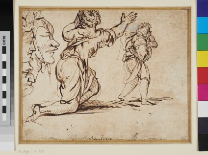 Sheet of Studies: three Heads, a kneeling Woman and a Boy
