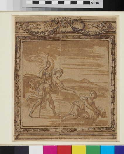 Tobias and the Angel. Design for a mural decoration within an ornate frame