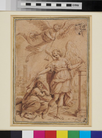 Allegorical Subject with an Angel, a kneeling Man, and a Figure of Fame above