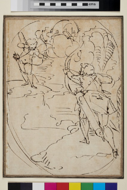 Cupid and an Archer shooting arrows at each other: Design for an oval Composition