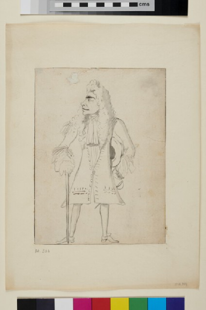 Caricature of a man holding a hat and a cane