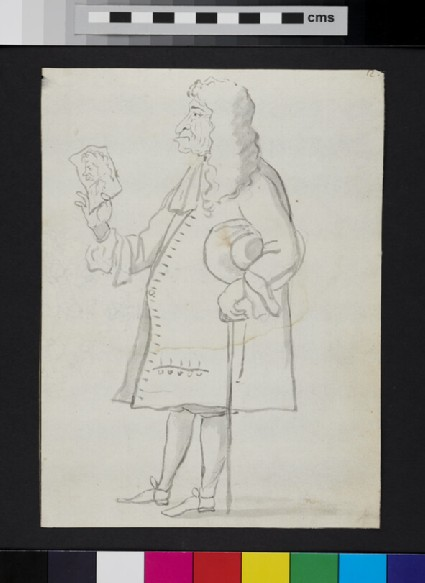 Caricature of a man standing in profile, holding a drawn caricature