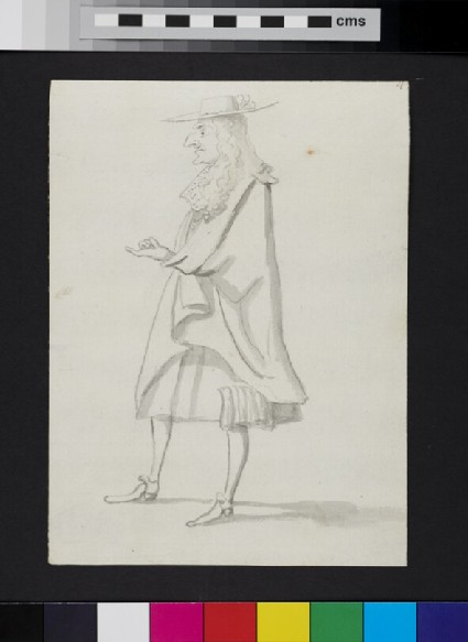 Caricature of a man standing in profile, gesturing