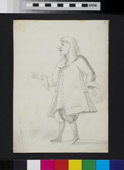 Caricature of a man standing in profile, pointing