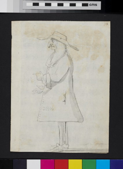 Caricature of a man standing in profile