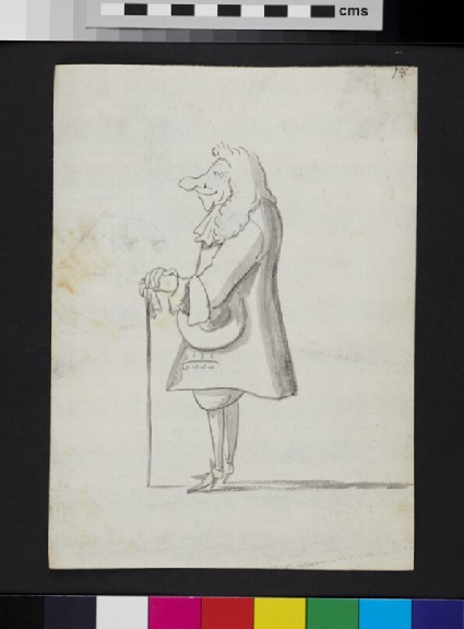 Caricature of a man standing in profile, holding a cane and a hat