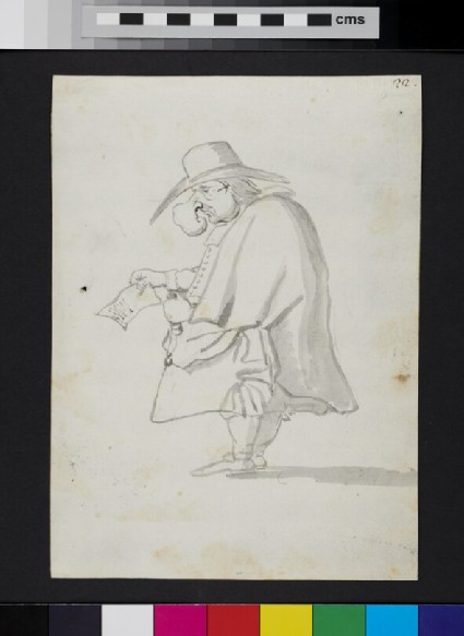 Caricature of a man standing in profile, holding a document