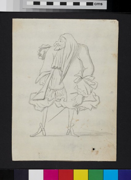 Caricature of a man, looking to his right
