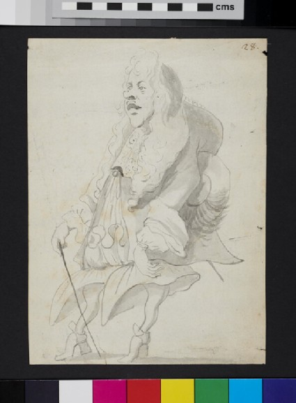 Caricature of a man holding a cane and a hat