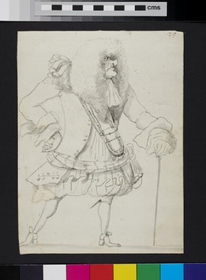 Caricature of a man holding a cane