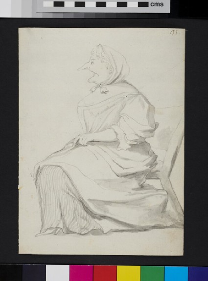 Caricature of a seated woman