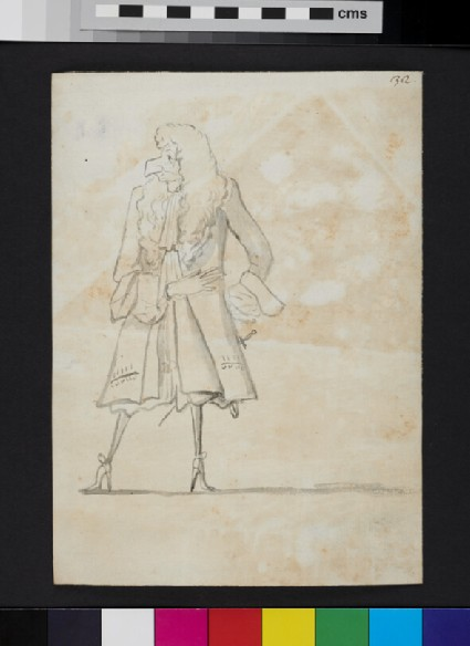 Caricature of a man looking to his right