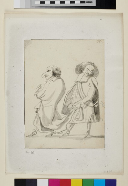 Caricature of a man holding another's coattails