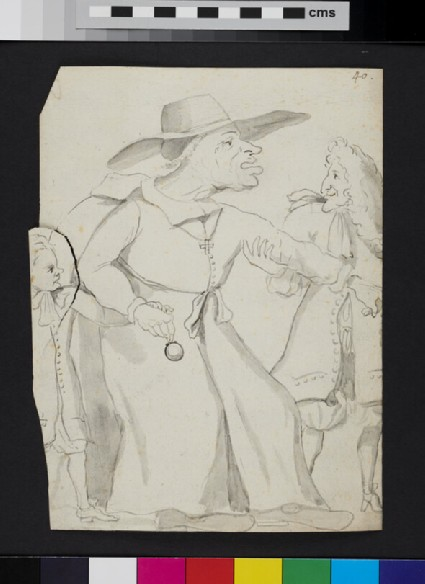Caricature of prelate with a pocket watch, accompanied by a child and led by a man