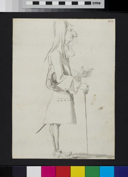 Caricature of a man standing in profile, pointing and holding a cane and a hat