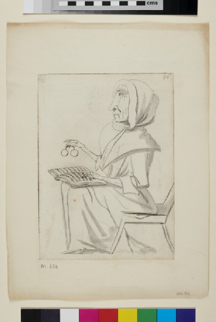Caricature of a woman reading