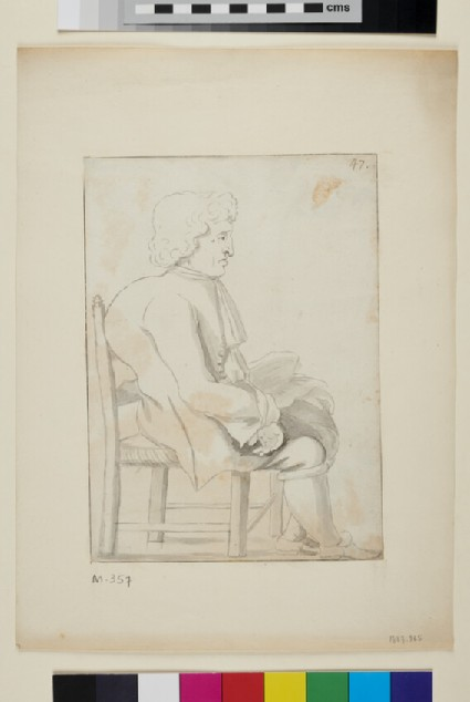 Caricature of a seated man