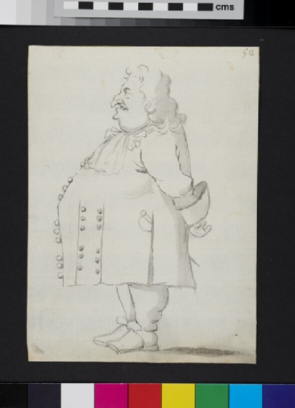 Caricature of a man standing in profile with his hands behind his back