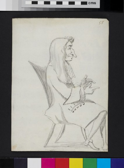 Caricature of a man seated in profile