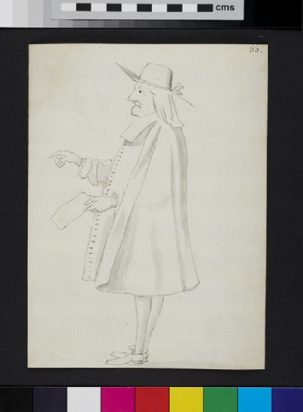 Caricature of a man standing in profile, holding a piece of paper