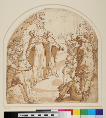 A religious scene of a miracle with a Franciscan saint surrounded by a crowd admiring and drinking the water that flows from the stick of the saint