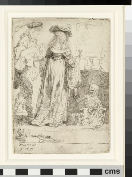 Death appearing to a wedded couple from an open grave