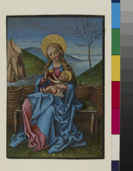 The Virgin and child on a grassy bench