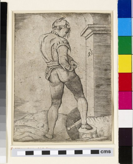 Soldier attaching his breeches to his breastplate, figure from the Battle of Cascina
