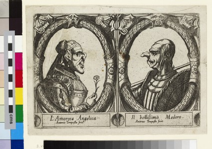 Angelica and Medoro, seen in profile, portrayed in a grotesque manner