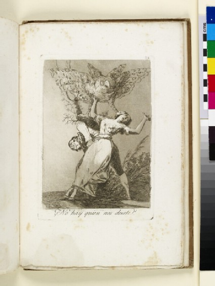 Plate 75: man and woman tied together at waist, struggling to break free, owl in air