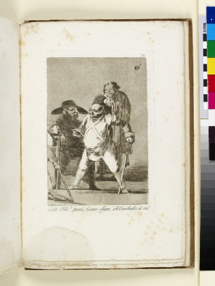 Plate 76: fat old officer leaning on baton, dispensing orders to those unfortunates around him