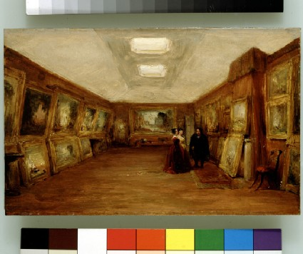 Interior of Turner's Gallery: the Artist showing his Works