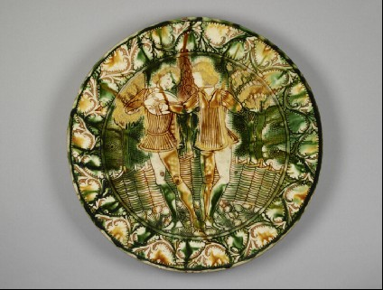 Dish with two lute-players